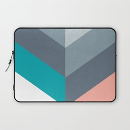 Vertical Chevron Pattern - Teal, Coral and Dusty Blues #geometry #minimalart #society6 Laptop Sleeve