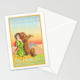 Lady cuddling a Bear at the Portola Festival of 1913  in San Francisco Stationery Cards