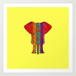 Rainbow Ganesha (Yelow Background) Art Print