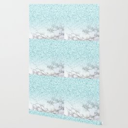 Turquoise Sea Mermaid Glitter Marble Wallpaper