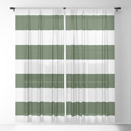 Large Dark Forest Green and White Cabana Tent Stripes Sheer Curtain