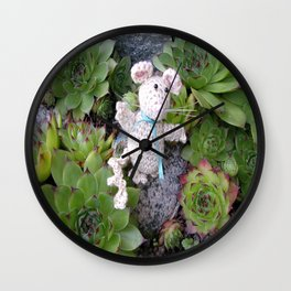Mouse in minigarden Wall Clock