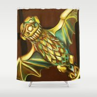 haunted mansion Shower Curtains featuring Haunted Mansion Bat Stanchion by ArtisticAtrocities