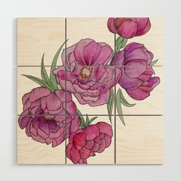 Peonies in Pink and Ink Wood Wall Art