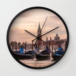 Venice Gondolas at Sunset, Italy Travel Photography, Venice Wall Art, Venecia Foto Wall Clock