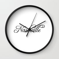 nashville Wall Clocks featuring Nashville by Blocks & Boroughs
