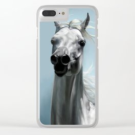 Arabian White Horse Painting Clear iPhone Case