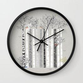 BRICH TREES & BIRDS Wall Clock