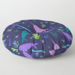 Watercolor Narwhals Purple Rose Gold Sea Pattern Floor Pillow
