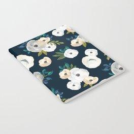 Midnight Florals - Blue & Cream Notebook