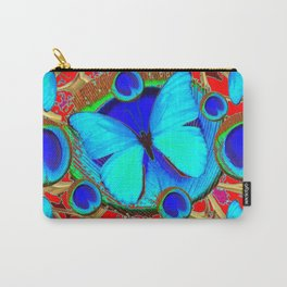 Red Fantasy Turquoise Butterflies Peacock Pattern Eyes Art Carry-All Pouch