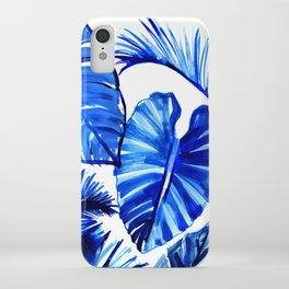 Bright Blue Jungle Leaves iPhone Case