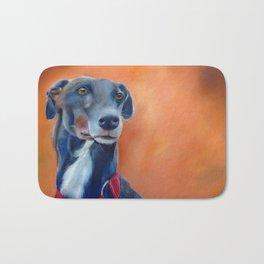 Black greyhound with white bib (a342) Bath Mat
