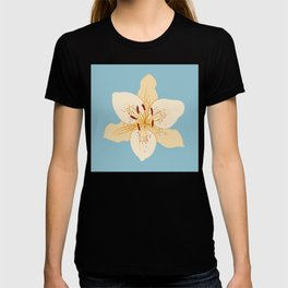 Day Lily Illustrative Art on Light Blue T-shirt