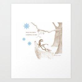 Peace On Earth - Brown Art Print