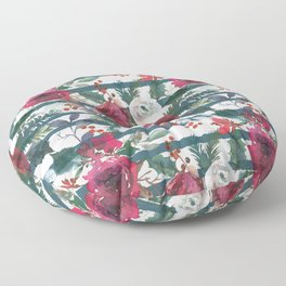 Festive Red Floral Arrangement on White with Green Stripes  Floor Pillow