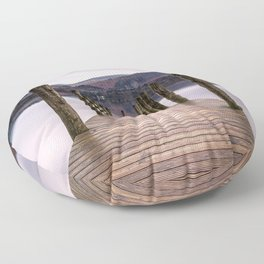 Lake View with Wooden Pier Floor Pillow