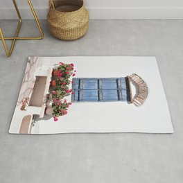 Greek Blue Window with Closed Shutters and Flowers, Traditional White House in Tinos Island, Cyclades Greece Rug