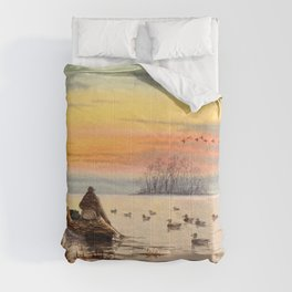 A Great Day For Hunting Ducks Comforters