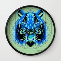 thundercats Wall Clocks featuring Geometric Tiger by chobopop