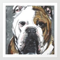 english bulldog Art Prints featuring English Bulldog  by ali_grace_gal