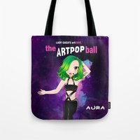 artrave Tote Bags featuring artRAVE Aura by Aldo Monster