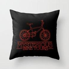 Mysterious Bike Tours Throw Pillow