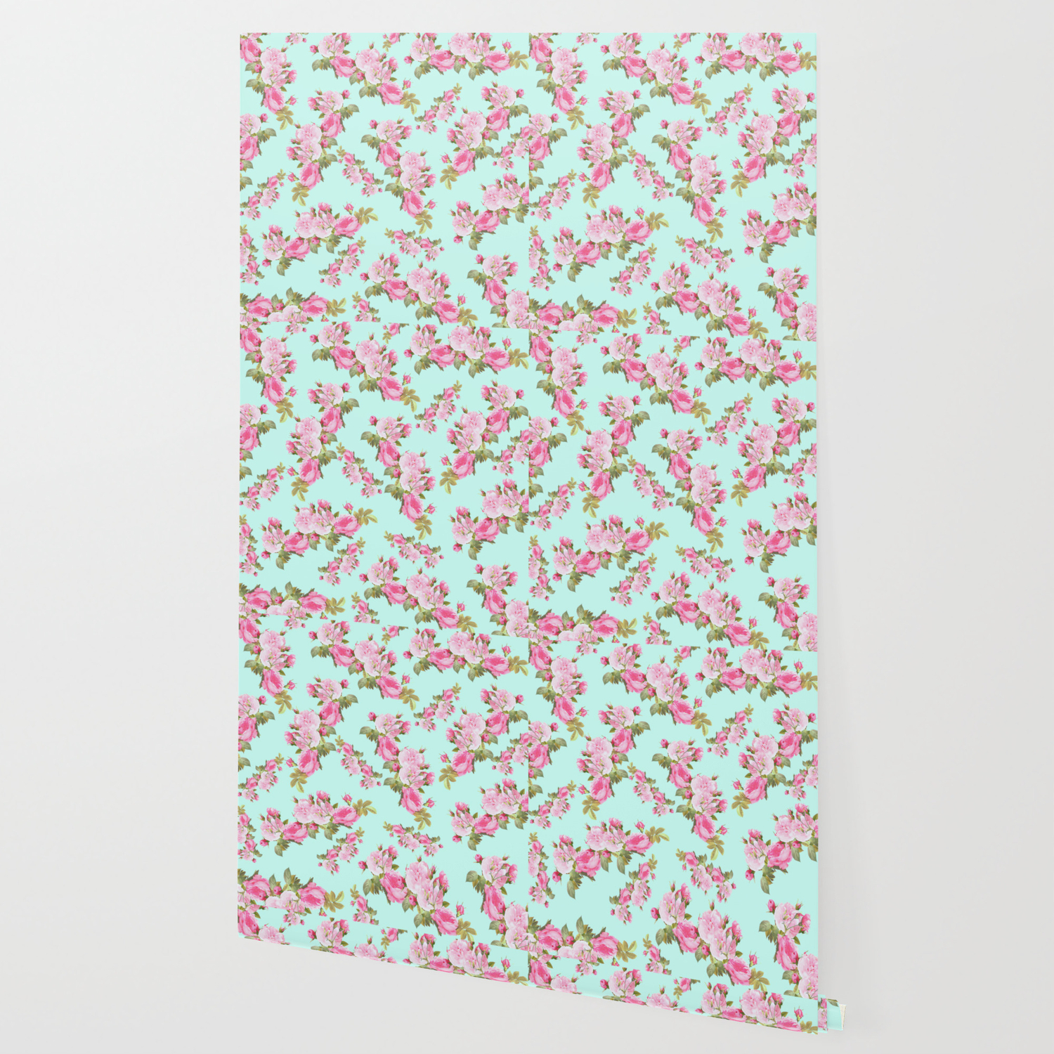 Pink Mint Green Floral Wallpaper By Lilkiddies Society6
