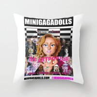 artrave Throw Pillows featuring artRAVE minigadolls by Sergiomonster