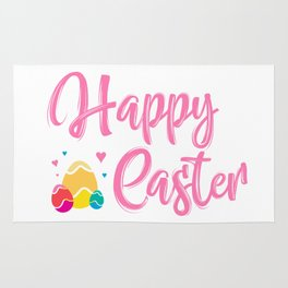 Happy Easter Typography - Easter Eggs with Hearts Rug