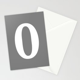 0 (WHITE & GRAY NUMBERS) Stationery Cards