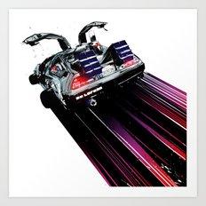 DeLorean Blast Off Art Print