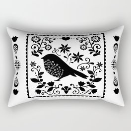 Woodland Folk Black And White Blue Bird Tile Rectangular Pillow