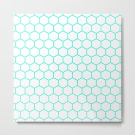 Honeycomb (Turquoise & White Pattern) Metal Print