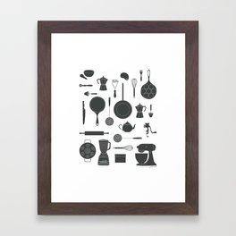 Kitchen Tools (black on white) Framed Art Print