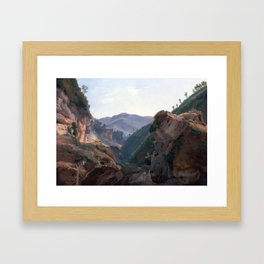 Jean-Charles-Joseph Rémond Mountain Landscape with Road to Naples Framed Art Print