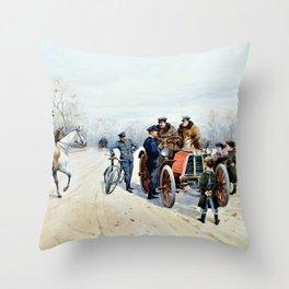 Speeding ticket, Bois de Boulogne - Anna Sofia Palm de Rosa Throw Pillow