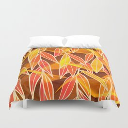 Bright Golden Orange Leaves Floral Print Duvet Cover