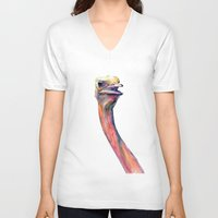 ostrich V-neck T-shirts featuring ostrich by dareba