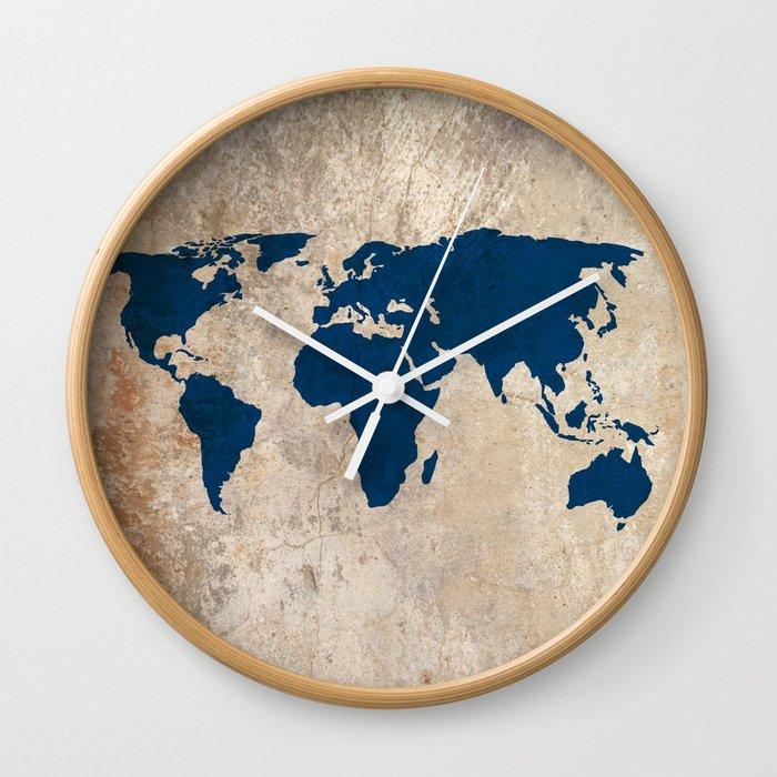 Rustic World Map Wall Clock By Bysamantha Society6