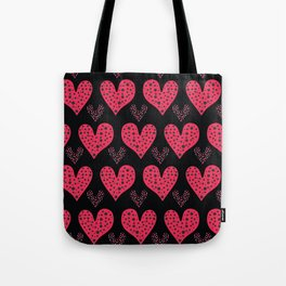 Red brush stroke dotty love hearts with 1950s style polka dots Tote Bag
