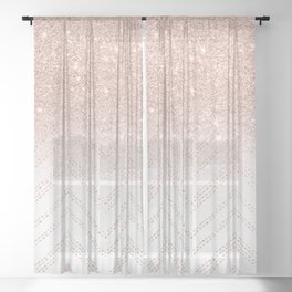Modern faux rose gold glitter ombre modern chevron stitches pattern Sheer Curtain