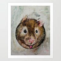 hamster Art Prints featuring Hamster Love by Michael Creese