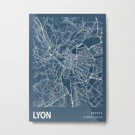 Lyon Blueprint Street Map, Lyon Colour Map Prints Metal Print