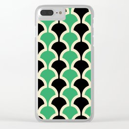 Classic Fan or Scallop Pattern 447 Black and Green Clear iPhone Case