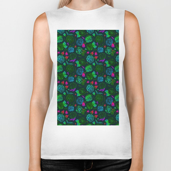 Watercolor Floral Garden in Electric Black Velvet Biker Tank