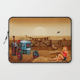 Pin Up Girl with tractor on the farm Laptop Sleeve