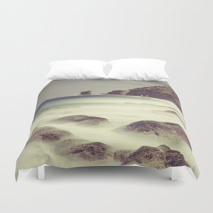 Water. Volcanic rocks. Duvet Cover