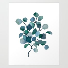 Eucalyptus Branch Watercolor Painting Art Print