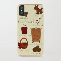 Colors: brown (Los colores: marrón) Slim Case iPhone X